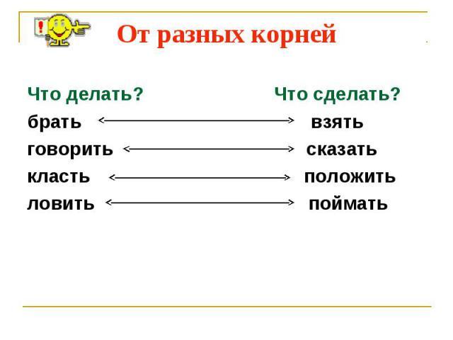 От разных корней Что делать? Что сделать?брать взятьговорить сказатькласть положитьловить поймать