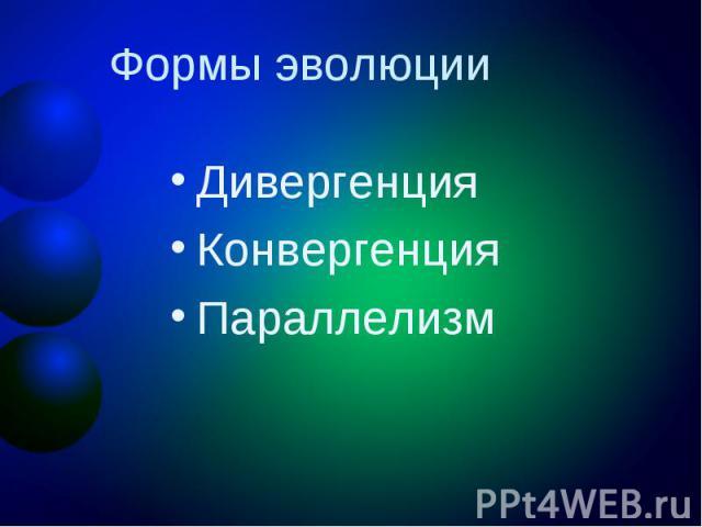 Формы эволюции ДивергенцияКонвергенцияПараллелизм
