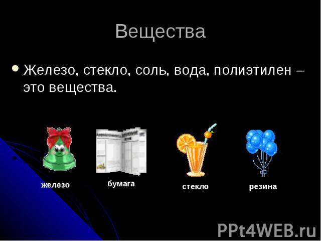ВеществаЖелезо, стекло, соль, вода, полиэтилен – это вещества.