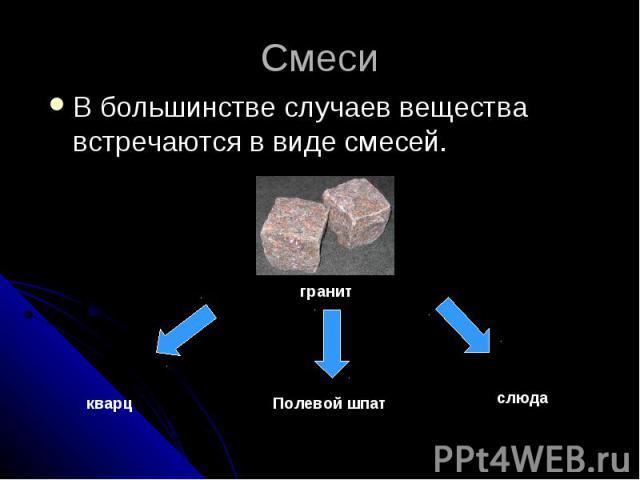 СмесиВ большинстве случаев вещества встречаются в виде смесей.