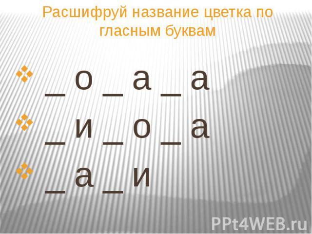 Расшифруй название цветка по гласным буквам _ о _ а _ а _ и _ о _ а _ а _ и
