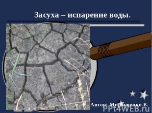 Засуха – испарение воды. Автор: Мирющенко В.
