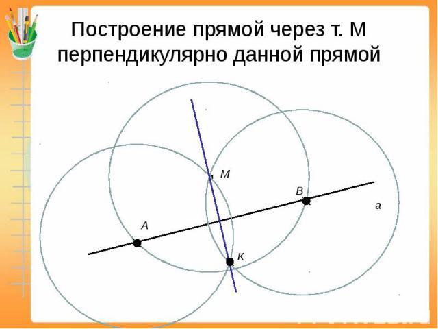 Построение прямой через т. М перпендикулярно данной прямой