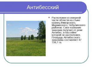Антибесский Расположен в северной части области на стыке границ Ижморского, Мари
