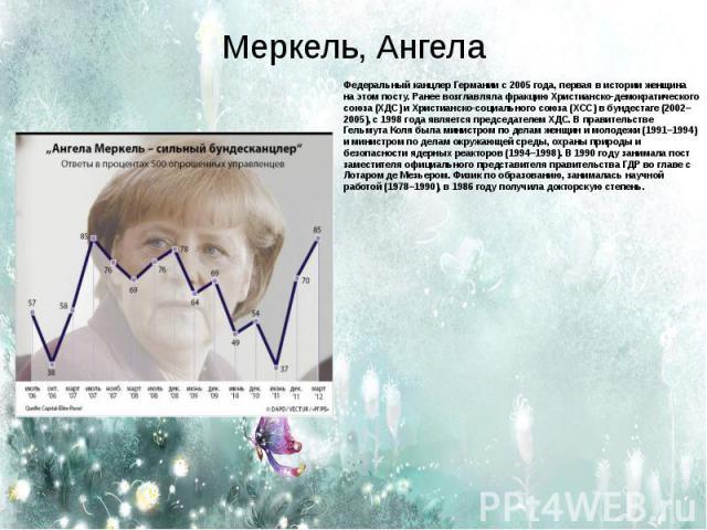 Меркель, Ангела Федеральный канцлер Германии с 2005 года, первая в истории женщина на этом посту. Ранее возглавляла фракцию Христианско-демократического союза (ХДС) и Христианско-социального союза (ХСС) в бундестаге (2002–2005), с 1998 года является…