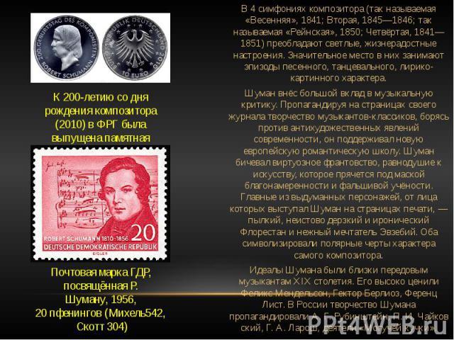 К 200-летию со дня рождения композитора (2010) в ФРГ была выпущена памятная серебряная монета номиналом 10 евро Почтовая маркаГДР, посвящённая Р. Шуману,1956, 20пфенингов(Михель542,Скотт304) В 4 симфониях композитора (так называемая «Весенняя»…