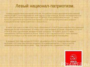 Первая коммунистическая партия в России, Российская Социал-демократическая раб
