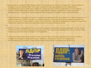 Демократия в понимании ЛДПР предполагает конституционное устройство государства