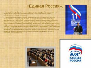 На первый взгляд «Единая Россия» - партия, которую президент Путин формирует п