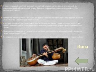 Вина — старинный индийский щипковый (плекторный) музыкальный инструмент, использ