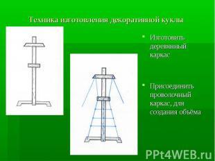 Техника изготовления декоративной куклы Изготовить деревянный каркасПрисоединить