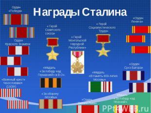 Награды Сталина