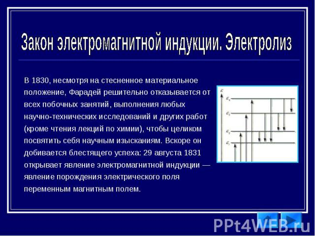 Закон электромагнитной индукции. Электролиз В 1830, несмотря на стесненное материальное положение, Фарадей решительно отказывается от всех побочных занятий, выполнения любых научно-технических исследований и других работ (кроме чтения лекций по хими…