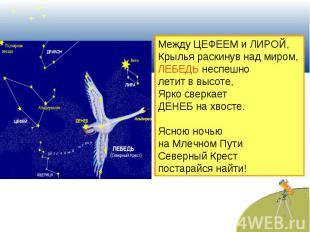 Между ЦЕФЕЕМ и ЛИРОЙ,Крылья раскинув над миром,ЛЕБЕДЬ неспешно летит в высоте,Яр