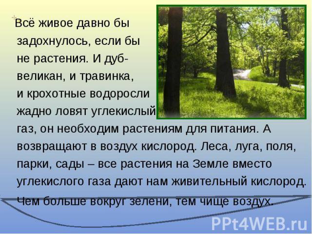 Всё живое давно бы задохнулось, если бы не растения. И дуб- великан, и травинка, и крохотные водоросли жадно ловят углекислый газ, он необходим растениям для питания. А возвращают в воздух кислород. Леса, луга, поля, парки, сады – все растения на Зе…