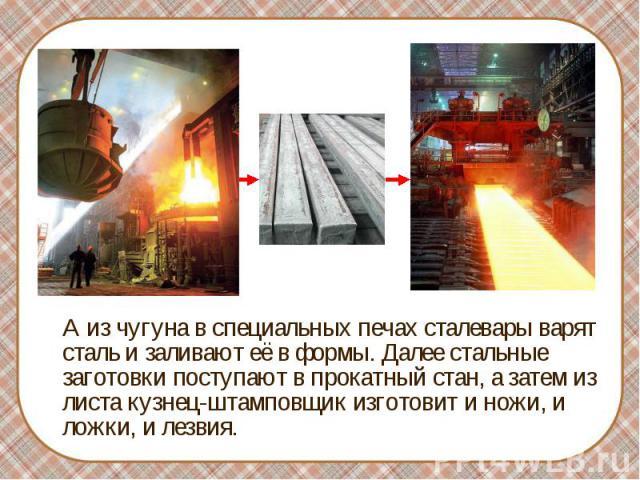 А из чугуна в специальных печах сталевары варят сталь и заливают её в формы. Далее стальные заготовки поступают в прокатный стан, а затем из листа кузнец-штамповщик изготовит и ножи, и ложки, и лезвия.