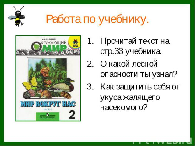 Работа по учебнику.Прочитай текст на стр.33 учебника.О какой лесной опасности ты узнал?Как защитить себя от укуса жалящего насекомого?