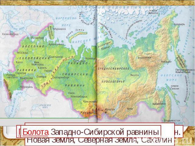 Болота Западно-Сибирской равнины Границу нашей страны Острова: Новая Земля, Северная Земля, Сахалин