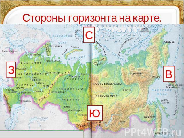 Стороны горизонта на карте.