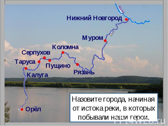 Назовите города, начиная от истока реки, в которыхпобывали наши герои.