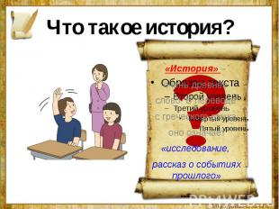 Что такое история?«История» – очень древнее слово. В переводе с греческого языка