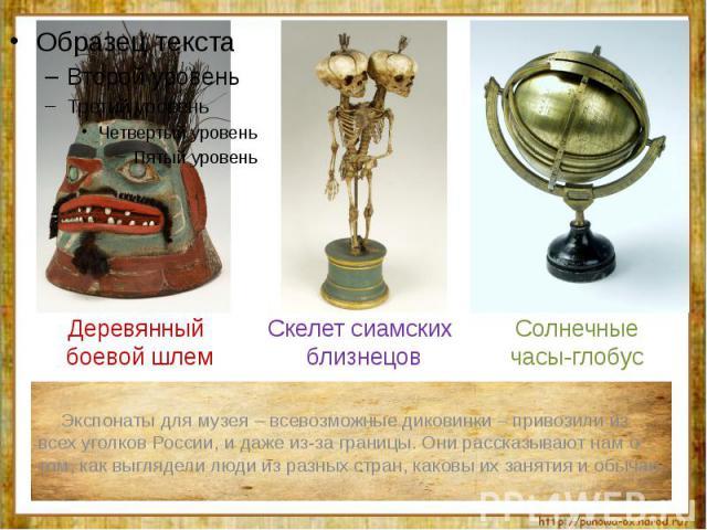Экспонаты для музея – всевозможные диковинки – привозили из всех уголков России, и даже из-за границы. Они рассказывают нам о том, как выглядели люди из разных стран, каковы их занятия и обычаи.