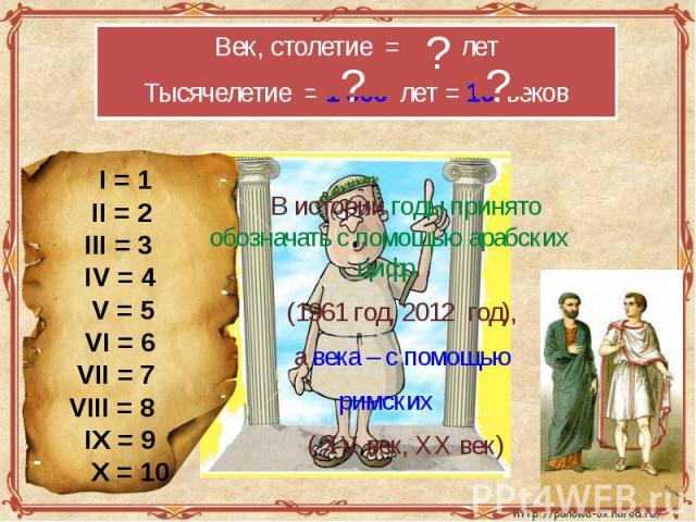 Век, столетие = 100 летТысячелетие = 1 000 лет = 10 веков I = 1 II = 2 III = 3 IV = 4 V = 5 VI = 6 VII = 7VIII = 8 IX = 9 X = 10 В истории годы принято обозначать с помощью арабских цифр (1961 год, 2012 год), а века – с помощью римских ( ХV век, ХХ век)