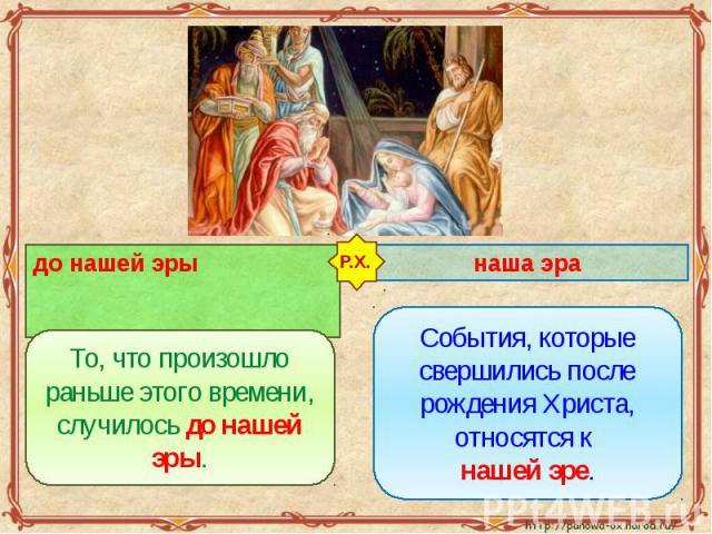 до нашей эры То, что произошло раньше этого времени, случилось до нашей эры. наша эра События, которые свершились после рождения Христа, относятся к нашей эре.