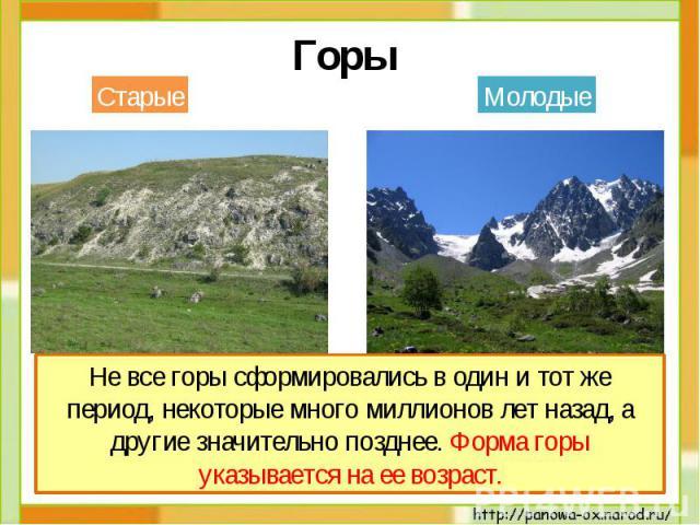 Горы Вершины гор невысокие и неострые, склоны пологие.