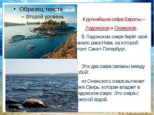 Крупнейшие озёра Европы – Ладожское и Онежское.В Ладожском озере берёт своё нача