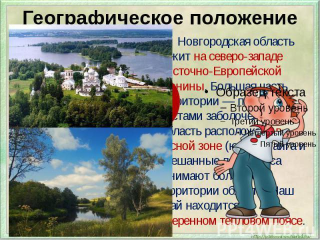 Географическое положение Новгородская область лежит на северо-западе Восточно-Европейской равнины. Большая часть территории — плоская, местами заболоченная. Область расположена в лесной зоне (южная тайга и смешанные леса). Леса занимают более 60 % т…