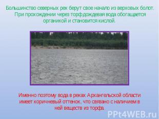 Большинство северных рек берут свое начало из верховых болот. При прохождении че