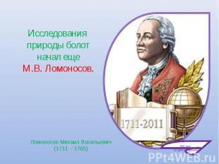 Исследования природы болот начал еще М.В. Ломоносов. Ломоносов Михаил Васильевич