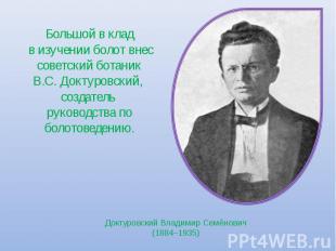 Большой в клад в изучении болот внес советский ботаник В.С. Доктуровский, создат