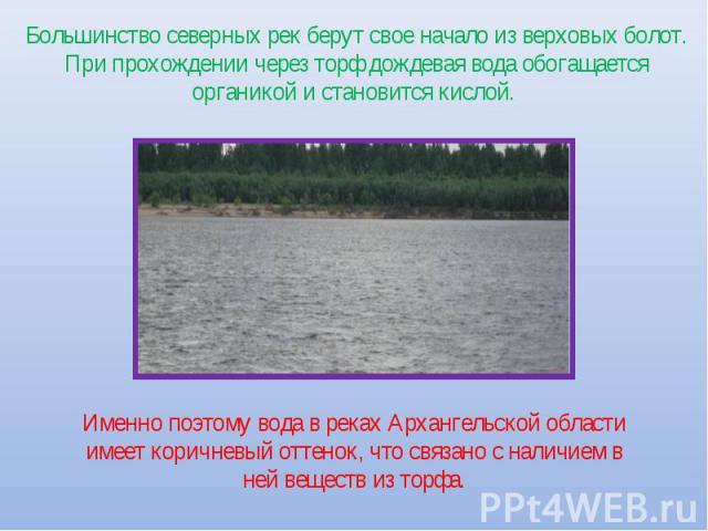 Большинство северных рек берут свое начало из верховых болот. При прохождении через торф дождевая вода обогащается органикой и становится кислой. Именно поэтому вода в реках Архангельской области имеет коричневый оттенок, что связано с наличием в не…