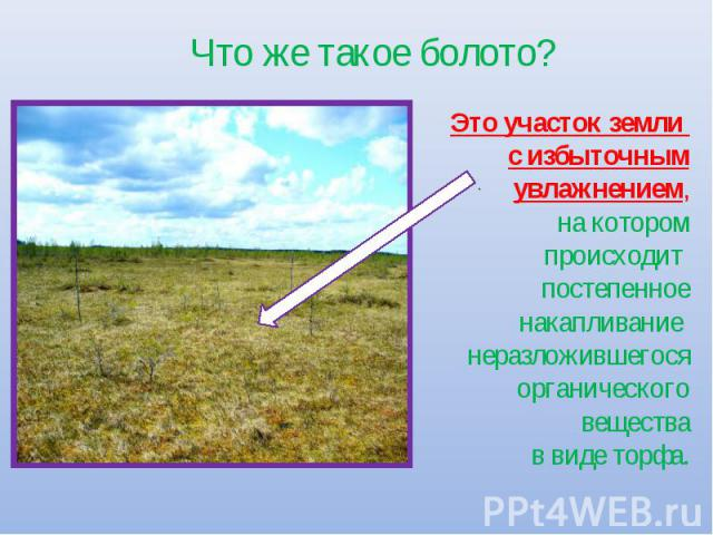 Что же такое болото? Это участок земли с избыточным увлажнением,на котором происходит постепенное накапливание неразложившегося органического вещества в виде торфа.