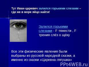 Тут Иван-царевич залился горькими слезами – где же в море яйцо найти! Залился го