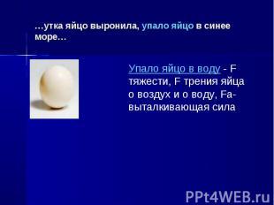 …утка яйцо выронила, упало яйцо в синее море… Упало яйцо в воду - F тяжести, F т