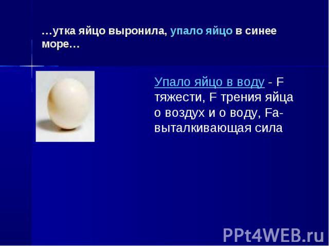 …утка яйцо выронила, упало яйцо в синее море… Упало яйцо в воду - F тяжести, F трения яйца о воздух и о воду, Fa-выталкивающая сила