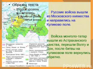 Русские войска вышли из Московского княжества и направились на Куликово поле.Вой