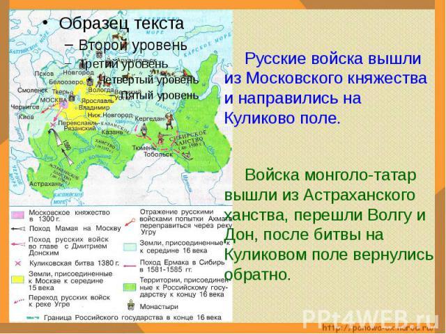 Русские войска вышли из Московского княжества и направились на Куликово поле.Войска монголо-татар вышли из Астраханского ханства, перешли Волгу и Дон, после битвы на Куликовом поле вернулись обратно.