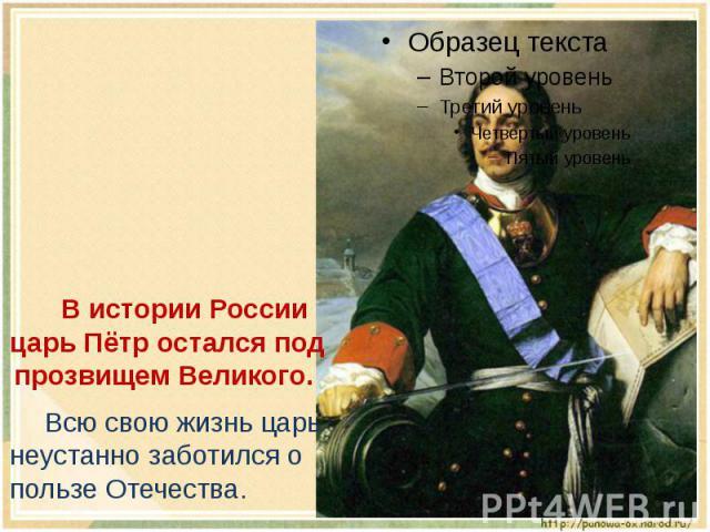 В истории России царь Пётр остался под прозвищем Великого. Всю свою жизнь царь неустанно заботился о пользе Отечества.