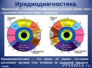 Иридиодиагностика. Иридология – это наука об информации, которую можно снять с р
