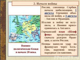 2. Начало войны Военно-политические блокив начале 20 века. Россия, союзница Серб