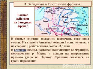3. Западный и Восточный фронты. Боевые действия на Западном фронте В боевые дейс