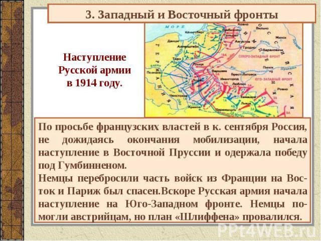 3. Западный и Восточный фронты НаступлениеРусской армиив 1914 году. По просьбе французских властей в к. сентября Россия, не дожидаясь окончания мобилизации, начала наступление в Восточной Пруссии и одержала победу под Гумбинненом.Немцы перебросили ч…