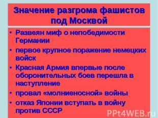 Значение разгрома фашистов под Москвой Развеян миф о непобедимости Германииперво