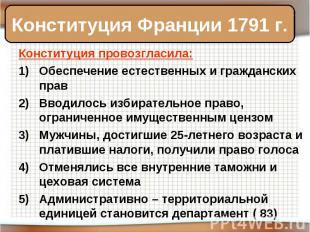 Конституция Франции 1791 г. Конституция провозгласила:Обеспечение естественных и