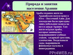 Природа и занятия населения Аравии Арабы издавна жили на Аравийском полуострове