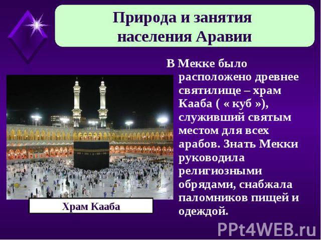 Природа и занятия населения Аравии В Мекке было расположено древнее святилище – храм Кааба ( « куб »), служивший святым местом для всех арабов. Знать Мекки руководила религиозными обрядами, снабжала паломников пищей и одеждой. Храм Кааба